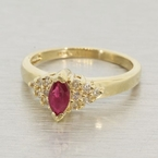 14k Gold Ruby & Diamond Vintage Fashion Ring