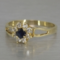 Estate Sapphire CZ Gold Plate Floral Cluster Ring