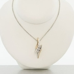 Estate Bypass Diamond Two Tone Gold Pendant Necklace