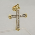 Vintage 10K Multi Tone Gold Diamond Cross Pendant