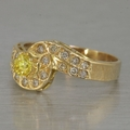 Vintage 14k Yellow Gold Cocktail Ring Citrine and Diamond