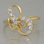 Unique Swirling Vintage 14K Yellow Gold Shimmering Diamond Cocktail Ring