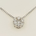 Fine 18K White Gold & Diamond Flower Necklace