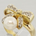 Estate Classic 14K Yellow Gold Cultured Pearl Diamond Two Piece Jewelry Set