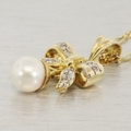 Estate 14K Yellow Gold Diamond & Pearl Jewelry Set