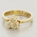 14K Yellow Gold and Diamond Cluster Ring