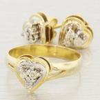 Vintage Estate 14K Yellow Gold Lovely Diamond Heart  Earrings&Ring 2-Piece Set