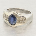 14K White Gold Sapphire and Diamond Fashion Ring