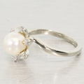 14K White Gold Pearl and Diamond Fashion Ring