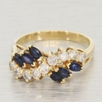 14K Yellow Gold Sapphire and Diamond Fashion Ring