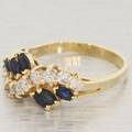 Vintage Ladies 14K Yellow Gold Sapphire&Diamond 1.10CTW Right Hand Ring Jewelry