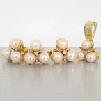 Exquisite Ladies 14K Yellow Gold Pearl&Diamond 3PC Jewelry Set
