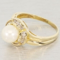Vintage Ladies 18K Yellow Gold Pearl Diamond Cocktail Ring