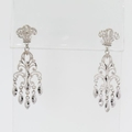 Intriguing Victorian Chandelier Earrings in 14K White Gold