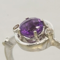 14K White Gold Amethyst and Diamond Ring