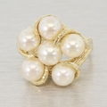 Estate 14K Yellow Gold & Pearl Cocktail Ring