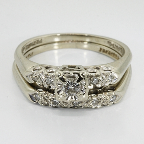14k White Gold Diamond Vintage Wedding Ring Set