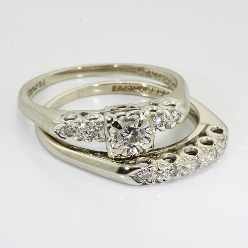 Elegant ... 14K White Gold Diamond Vintage Wedding Ring Set ...