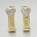 14K Yellow and White Gold Diamond Heart Shape Earrings