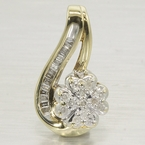 Charming Ladies 10K Yellow Gold Diamond Floral Pendant Jewelry