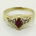 Rich Ruby and 14K Yellow Gold Diamond Fashion Ring