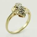 Vintage Ladies 14K Yellow Gold Diamond 0.30CTW Cluster Statement Right Hand Ring