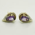 Marvelous Amethyst & Diamond Gold Vintage Earrings