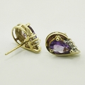 Marvelous Amethyst & Diamond Gold Vintage Earrings