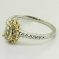 Elegant Aquamarine Diamond 14K White and Yellow Gold Fashion Ring