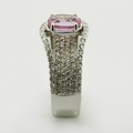 Stunning Pink Sapphire Diamond Fashion Ring 18K White Gold