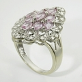 Beautiful Pink Sapphire Diamond Vintage White Gold Ring