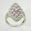 Beautiful Pink Sapphire Diamond Vintage White Gold Ring