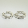 Sparkling 14K White Gold Diamond Huggie Hoop Earrings