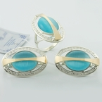 Russian Collection Ulexite Gold Silver Jewelry Set
