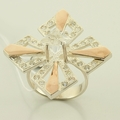 Fantastic Russian Collection Rose Gold Silver Ring Earrings Set