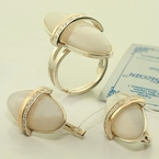 Russian Collection Gold Silver Earring Ring Set