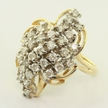 Striking 14K Gold Ladies Diamond Fashion Ring