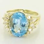 Marvelous 14K Yellow Gold Victorian Blue Topaz Diamond Cocktail Ring