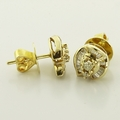 Wonderful Channel Set Baguette Diamond Cluster 14K Yellow Gold Stud Earrings