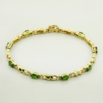 Fascinating Vintage Peridot and Diamond 10K Yellow Gold Bracelet