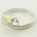 Charming Heart Shape Aquamarine and Diamond Gold Fashion Ring