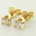 Gorgeous Round Brilliant Diamond Stud Earrings in 14K Yellow Gold