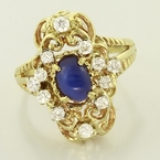 Wonderful Blue Star Sapphire Diamond Fashion Ring 14K Gold