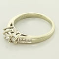 Beautiful Three Stone Diamond Engagement Ring 14K White Gold