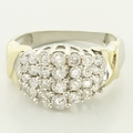 Sparkling Diamond Cluster Ring 14K White Yellow Gold