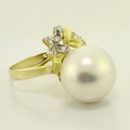 Fine Vintage Estate 14K Yellow Gold Diamond Pearl Earring Ring Pendant Set