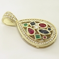 Wonderful 14K Yellow Gold Diamond Multi Color Gemstone Pendant