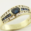 Wonderful Blue Sapphire Diamond 14K Yellow Gold Fashion Band