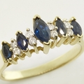 Beautiful 14K Yellow Gold Sapphire Diamond Fashion Ring