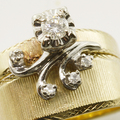 Rare Vintage Estate Womens 14K Yellow Gold Diamond Engagement Wedding Ring